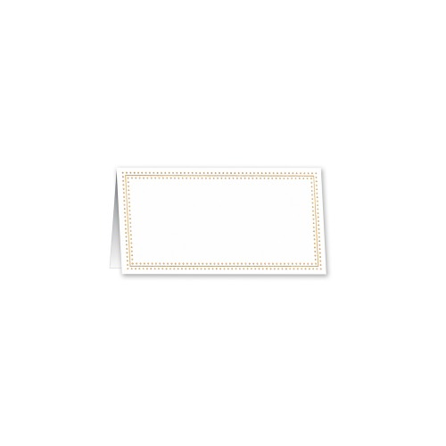 William Arthur Gold Bead  Stripe Border White Tent Style Place Cards