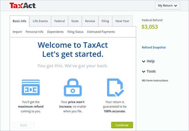 Compare TaxAct's Online Tax Filing Products