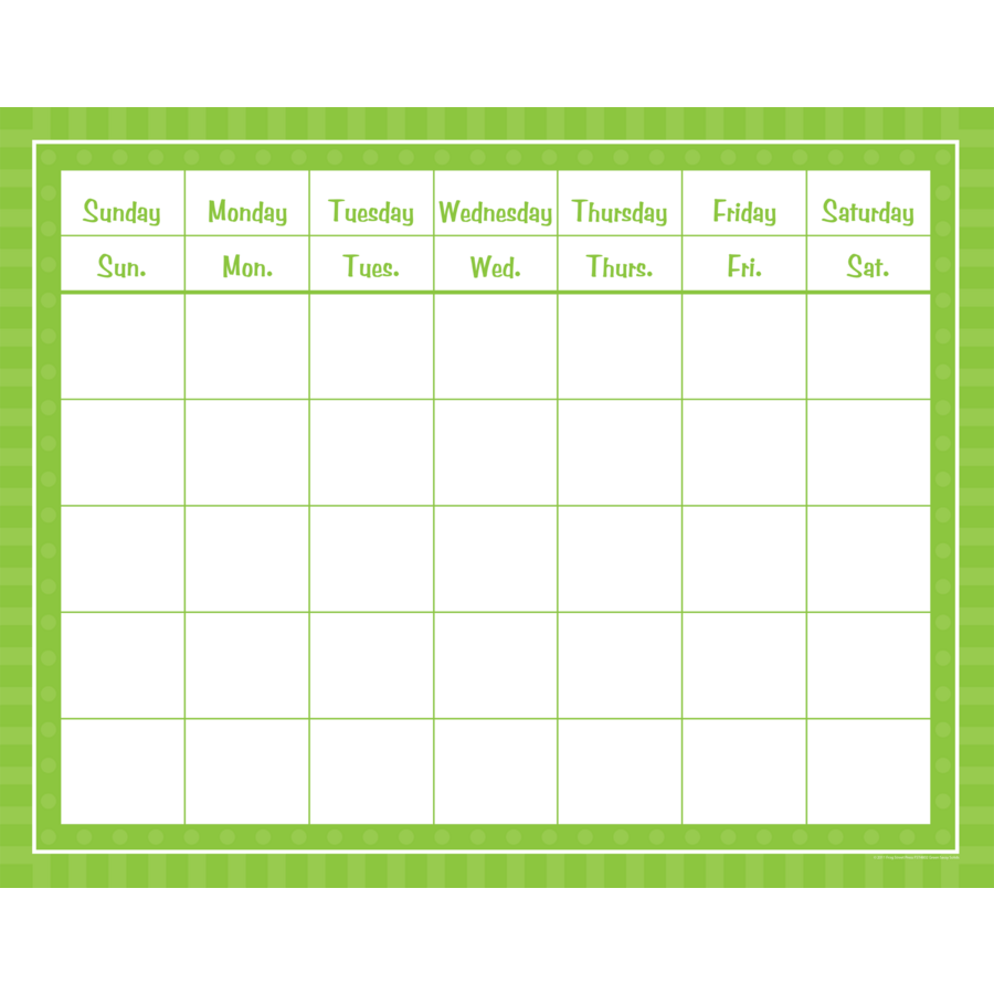 Weekly Calendar Grid Free Weekly Blank Calendar Template Printable Blank Green Sassy Solids Calendar Grid Tcr74802 Teacher