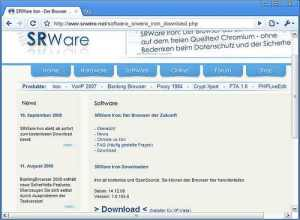 Iron Browser free download link at SRWare