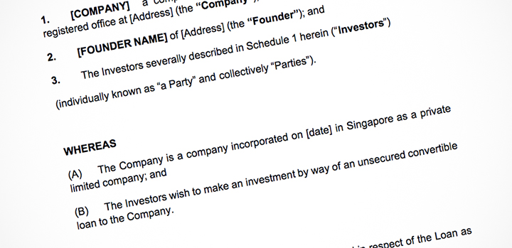 Singapore startups, use these open-source investment templates - convertible note agreement template