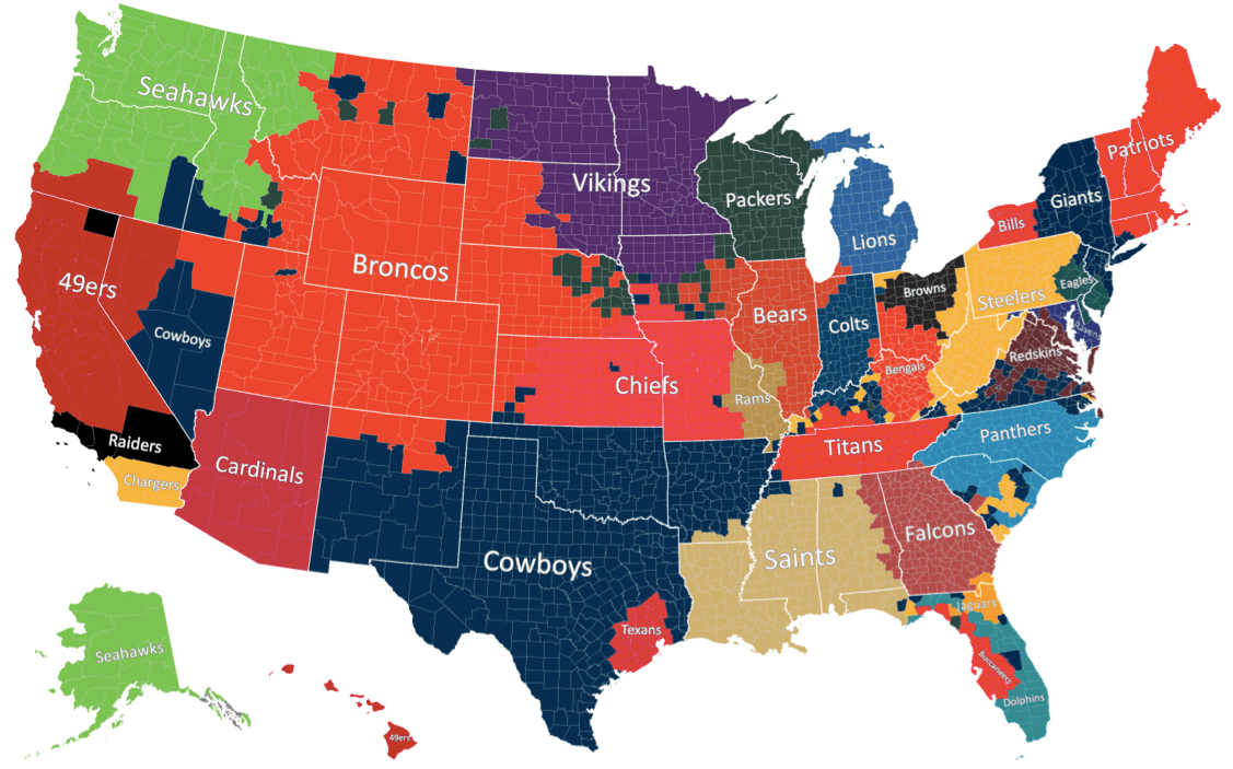 The Geography Of Nfl Fandom The Atlantic