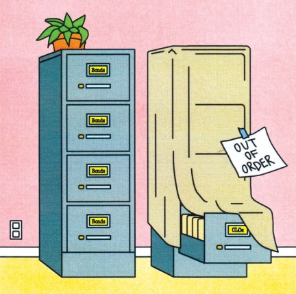 """illustration of file cabinet with label """"out of order"""""""