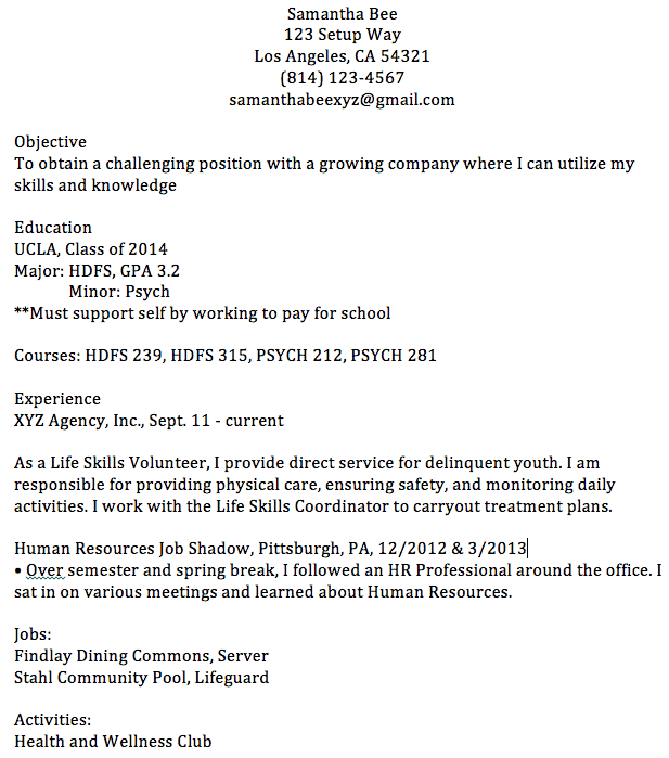 bad examples of resume objectives