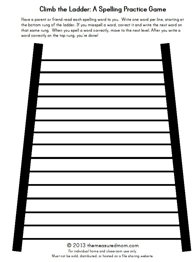 Climb the Ladder A printable spelling game for any word list - The