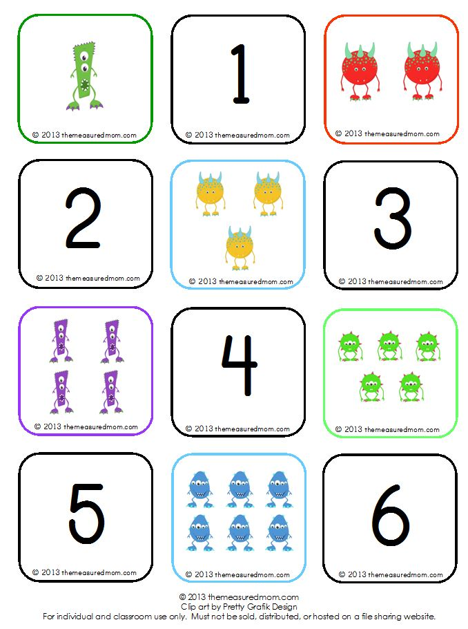 Learn to count groups of 1-10 free Monster Memory Game! - The