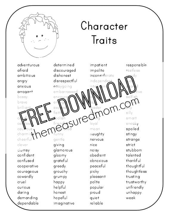 Free character analysis worksheet for kids - The Measured Mom