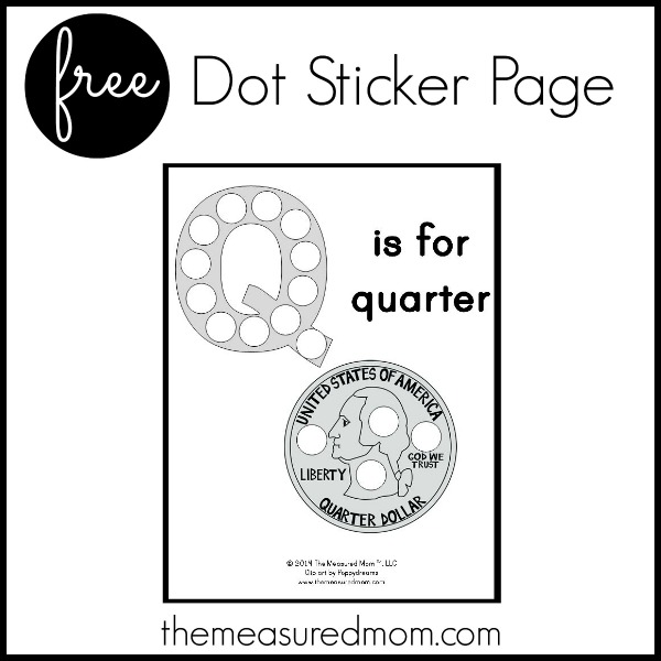 Free letter Q Printable Q is for Quarter - The Measured Mom