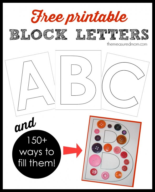 Printable block letters and over 150 ways to fill them! - The
