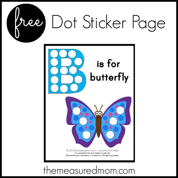 B is for Butterfly - free printable - The Measured Mom