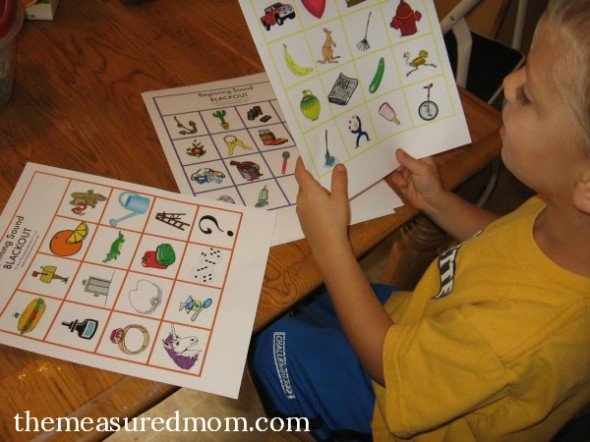 Review letter sounds with Beginning Sound Blackout (8 free boards