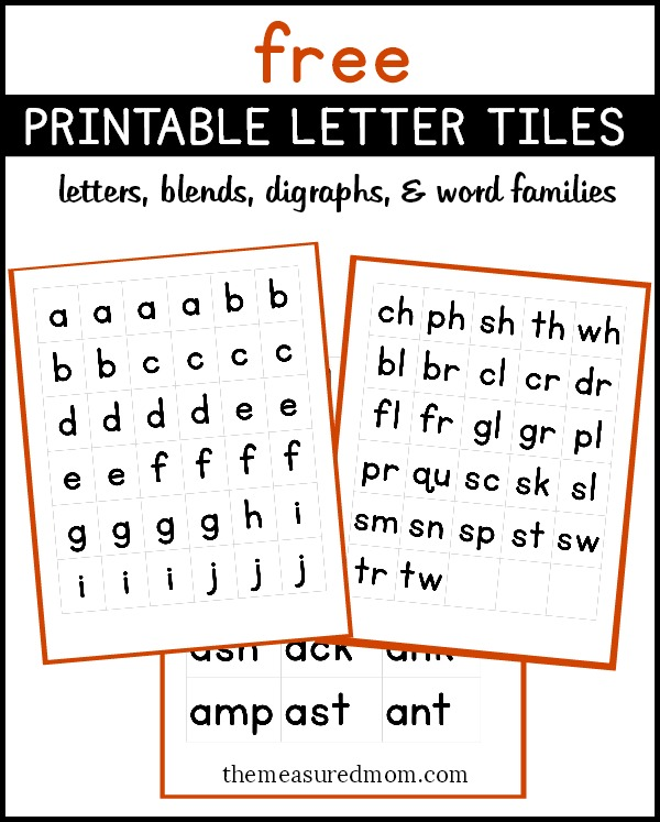 Free printable letter tiles for digraphs, blends, and word endings - word letter
