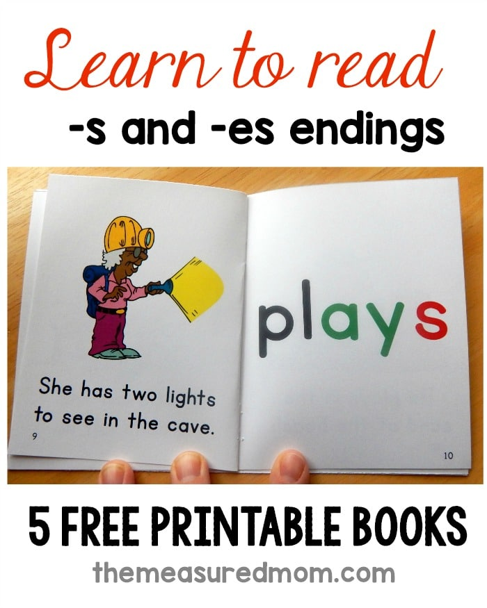 Free phonics books for words with plural endings - The Measured Mom