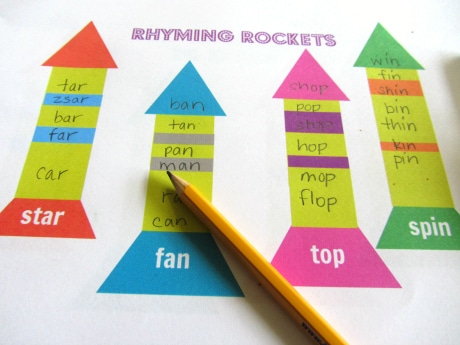 20+ games and free printables for learning rhyming words - The