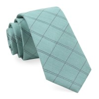 Mint Plaid Stat Tie