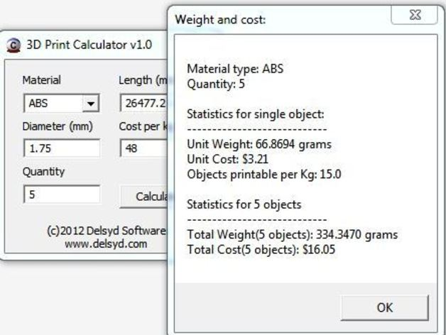 3D Printer Calculator by delsydsoftware - Thingiverse