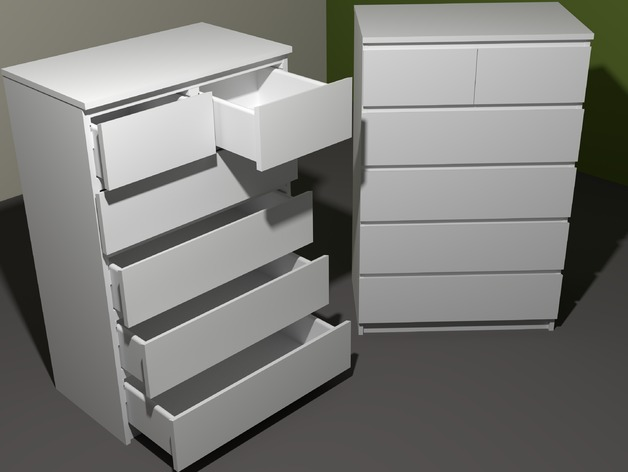 "White 6 Drawer Chest Model Of The ""ikea Malm 6-drawer Chest"" By Dorfdesbroeoets"