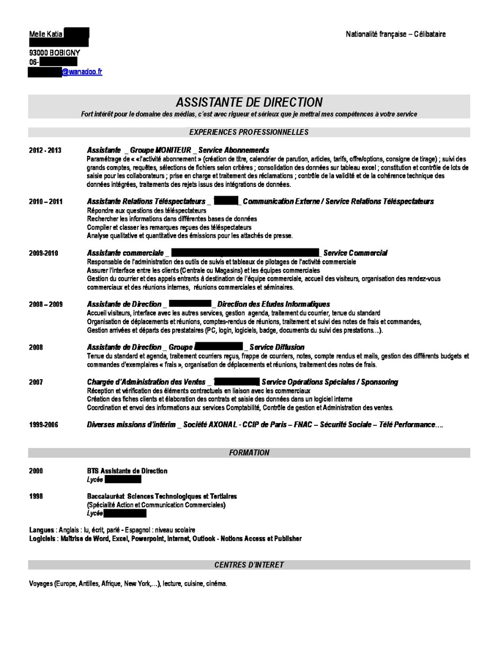 cv assistante de direction linkedin