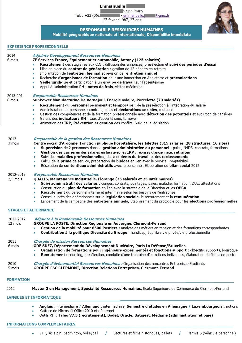 cv directeur des ressources humaines pdf