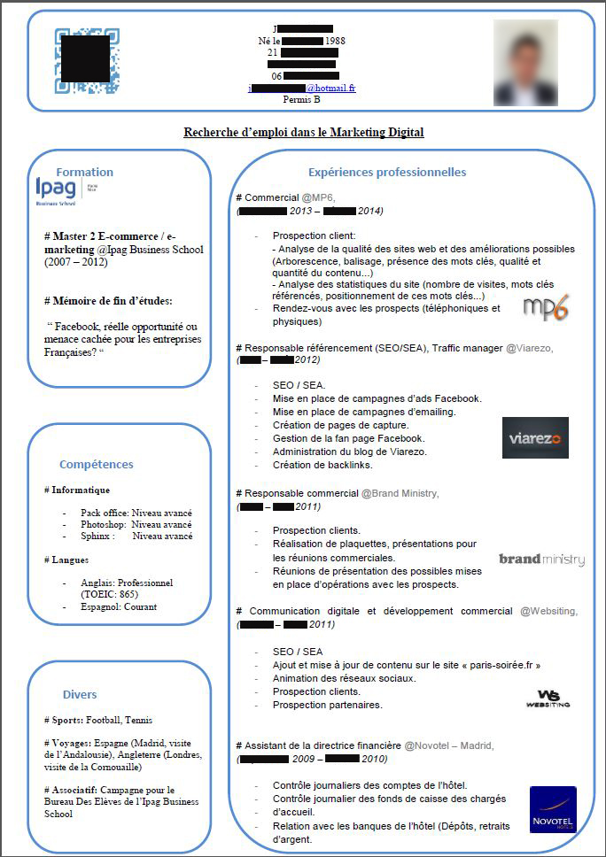 cv premier emploi marketing