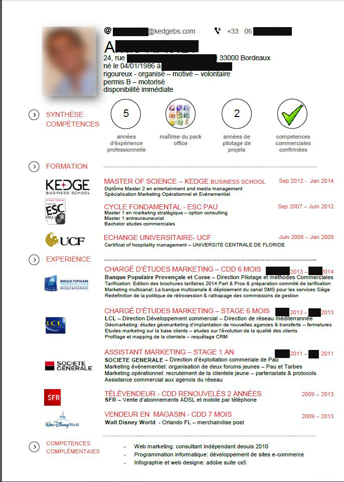 competences cv ecole de commerce