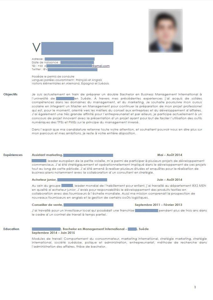 comment doit etre un cv pour candidature pour un master