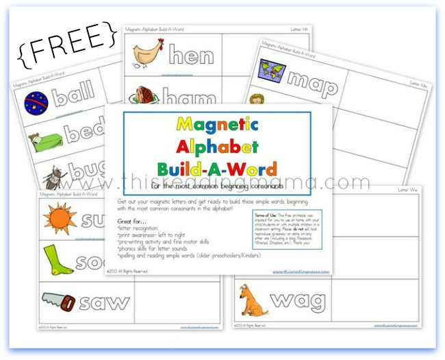 FREE Magnetic Alphabet Build-a-Word - word with the letters