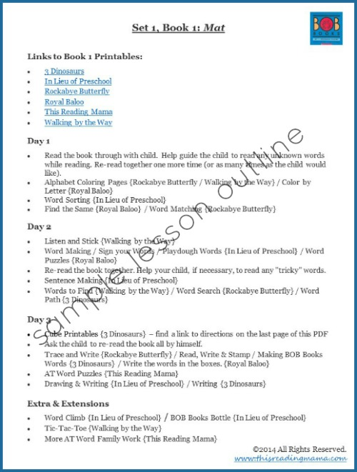 Lesson Plans and Outlines for BOB Books, Set 1 - lesson plan words