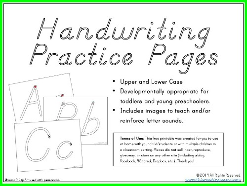 Handwriting Practice Pages for the Young Child