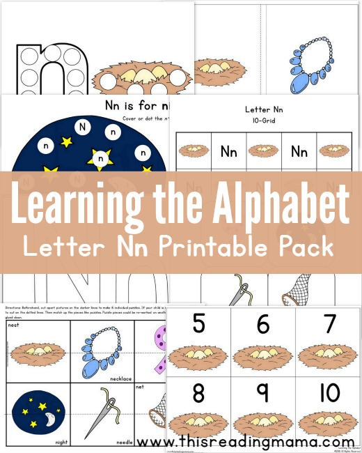 Learning the Alphabet - Letter N Printable Pack - This Reading Mama