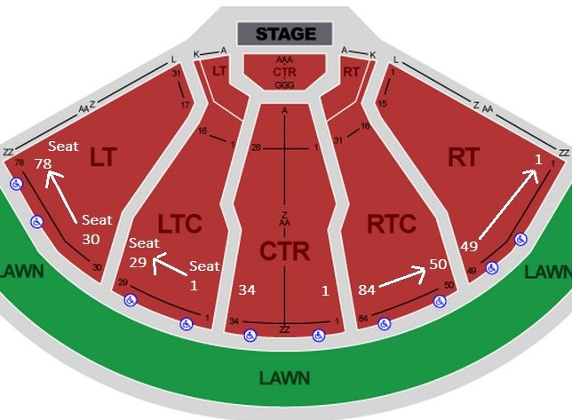 DTE Energy Music Theatre Seating Chart - Row  Seat Numbers