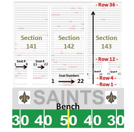 Mercedes-Benz Superdome Seating Chart - Row  Seat Numbers