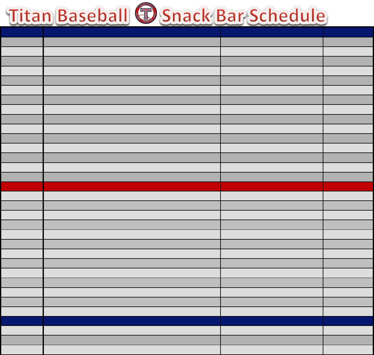 snack schedule template for baseball