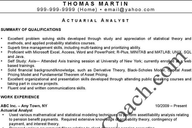 4+ Actuarial Resume Templates Free Download