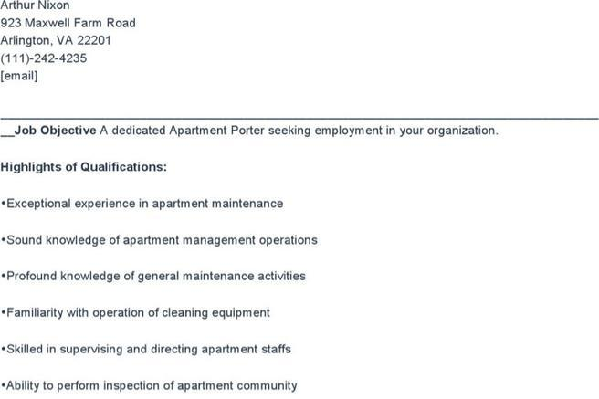 6+ Porter Resume Templates Free Download