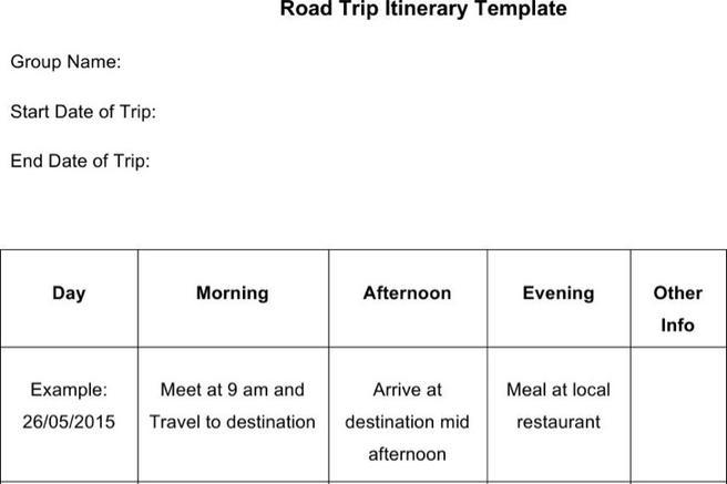 66+ Itinerary Template Free Download