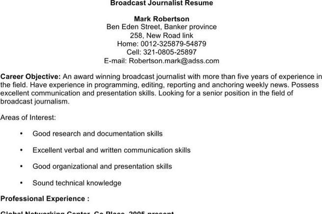 4+ Journalist Resume Templates Free Download