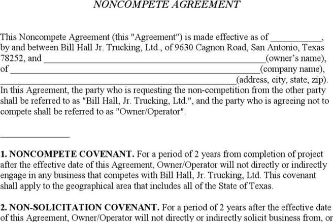 6+ Business Non-Compete Agreement Free Download