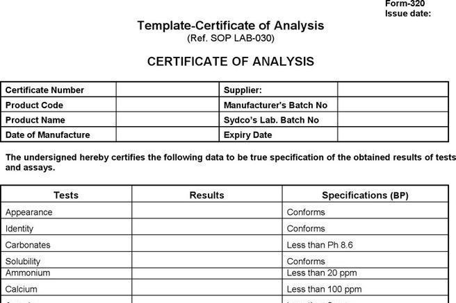 Certificate Of Analysis Template Images - Template Design Ideas - certificate of ysis template