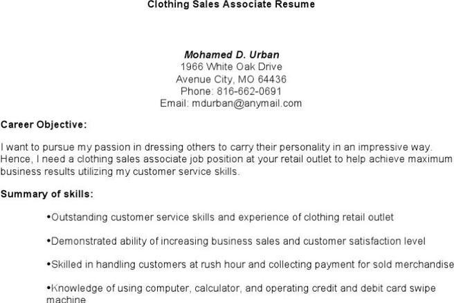 Download Resume Template for Free - TidyTemplates - clothing sales resume