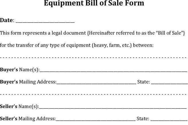 Download Equipment Bill of Sale for Free - TidyTemplates - equipment bill of sale