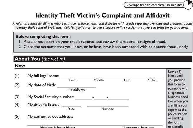 4+ Identity Theft Affidavit Free Download - Free Affidavit Forms Online
