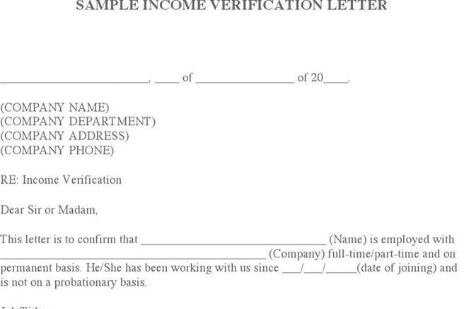 1+ Income Verification Letter Sample Free Download