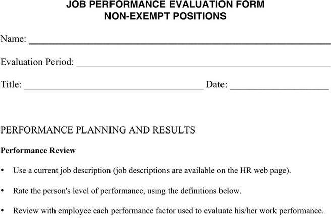3+ Job Performance Evaluation Free Download