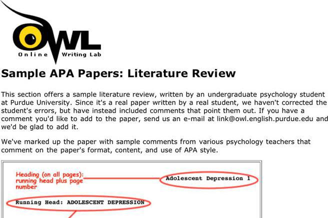 Apa Literature Review Example Purdue Owl -- nemetasaufgegabeltinfo - apa literature review paper