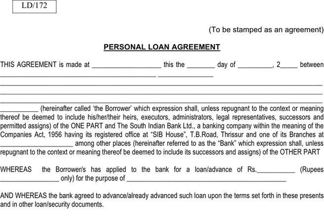 3+ Personal Loan Agreement Form Free Download