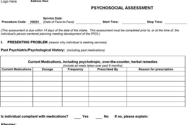 4+ Psychosocial Assessment Form Free Download