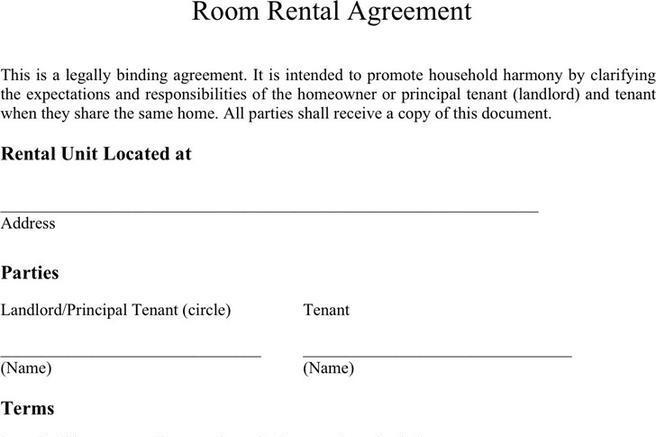 3+ Room Rental Agreement Free Download