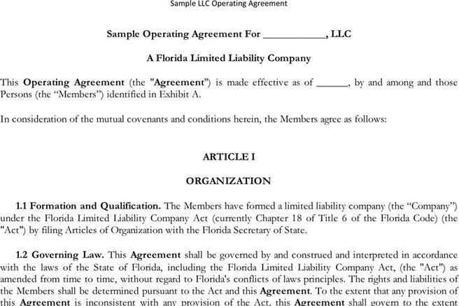 3+ LLC Operating Agreement Free Download