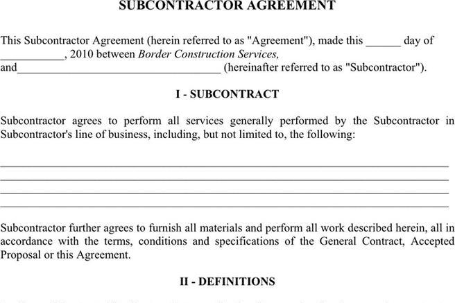 6+ Subcontractor Agreement Free Download